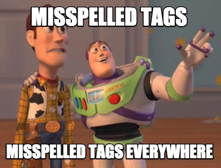 misspelled tags